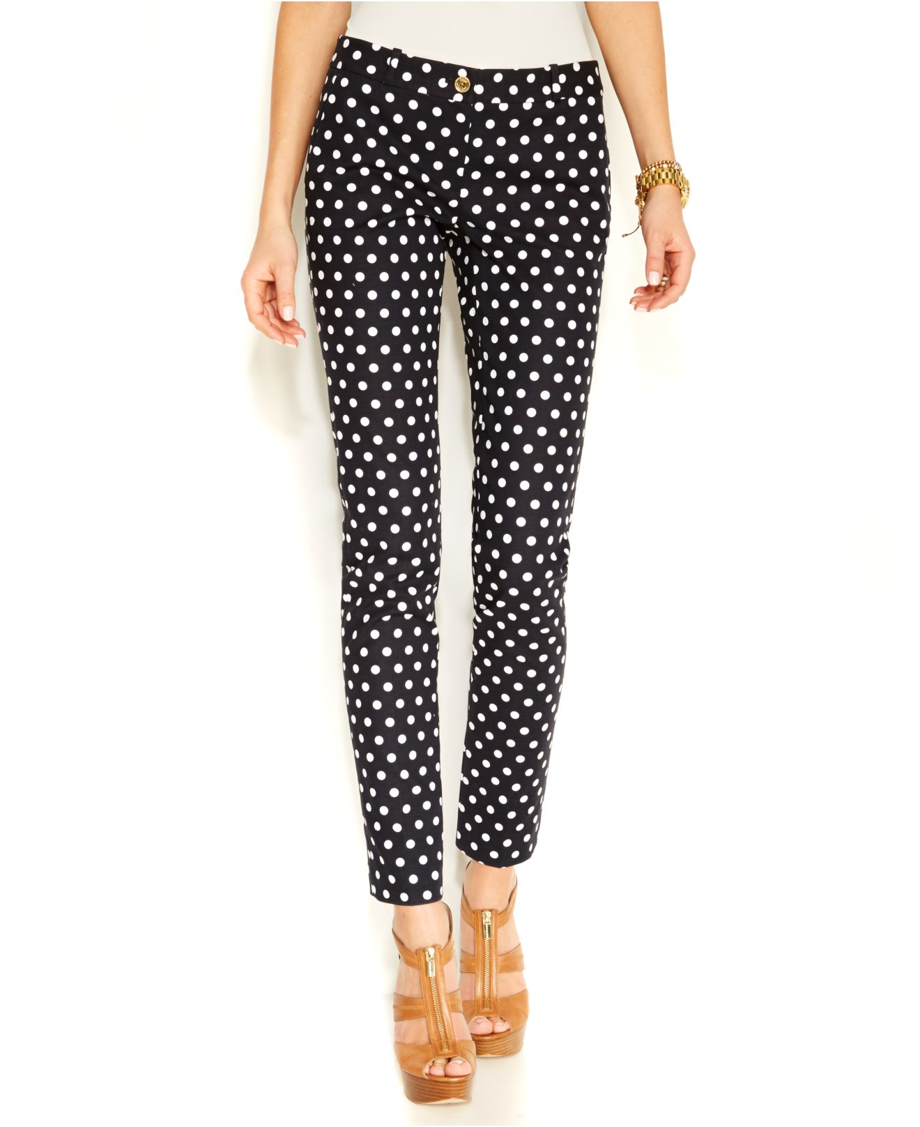 polka dot pants michael kors michael polka dot in blue lyst 30737
