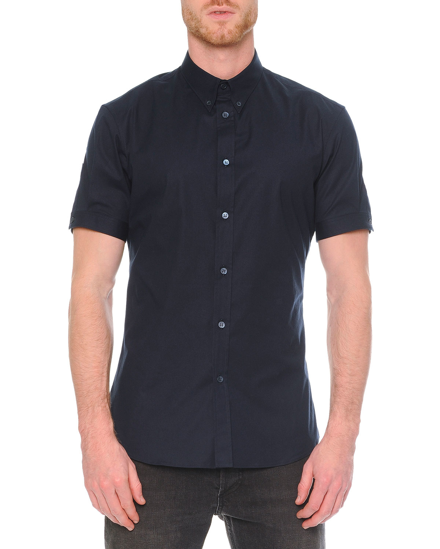 Alexander mcqueen short sleeve button down shirt in blue for Alexander mcqueen shirt men