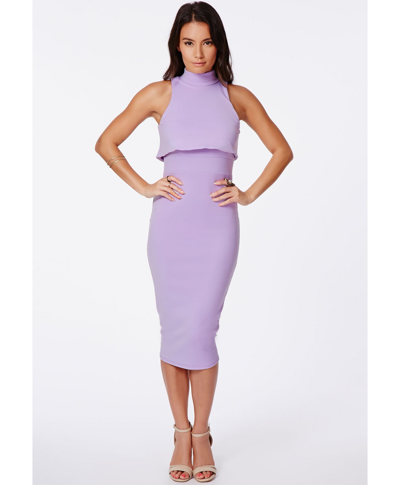 Missguided Antosia High Neck Midi Dress In Lilac In Purple
