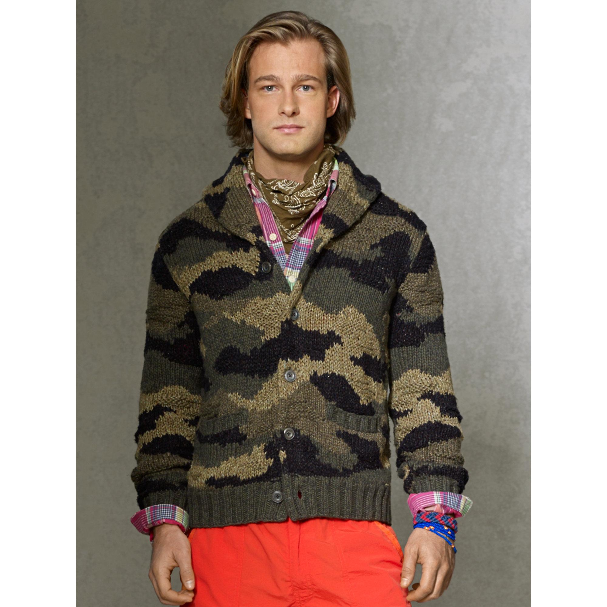 d6ce85890 Polo Ralph Lauren Camo Shawl-collar Cardigan in Green for Men - Lyst