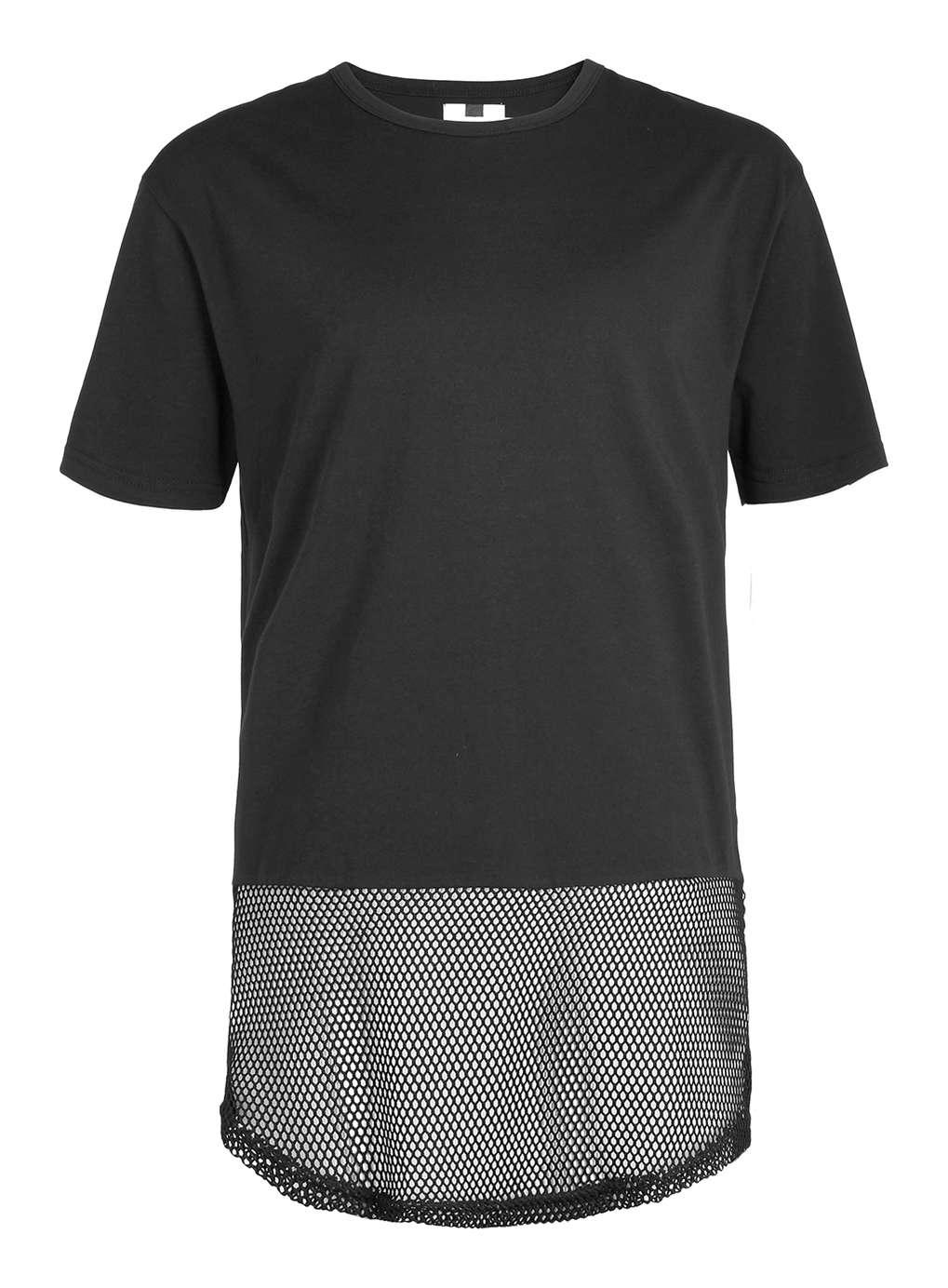 lyst topman black mesh long line t shirt in black for men. Black Bedroom Furniture Sets. Home Design Ideas