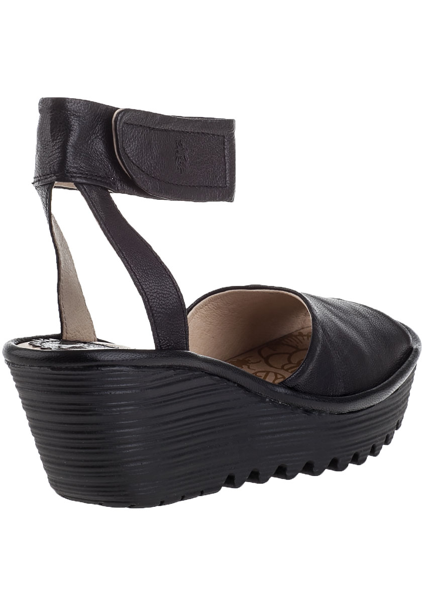 e682881d100f4 Fly London Yula Wedge Sandal Black Leather in Black - Lyst