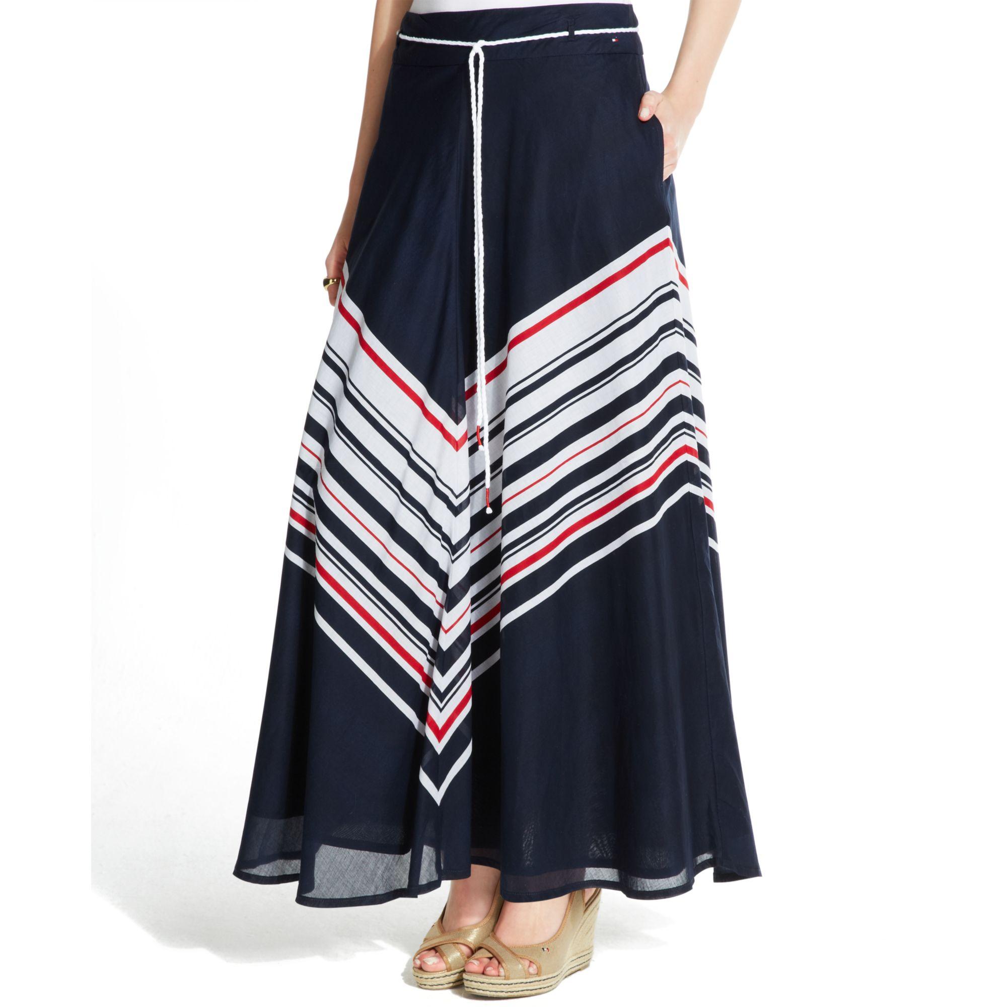 hilfiger chevron print drawstring maxi skirt lyst