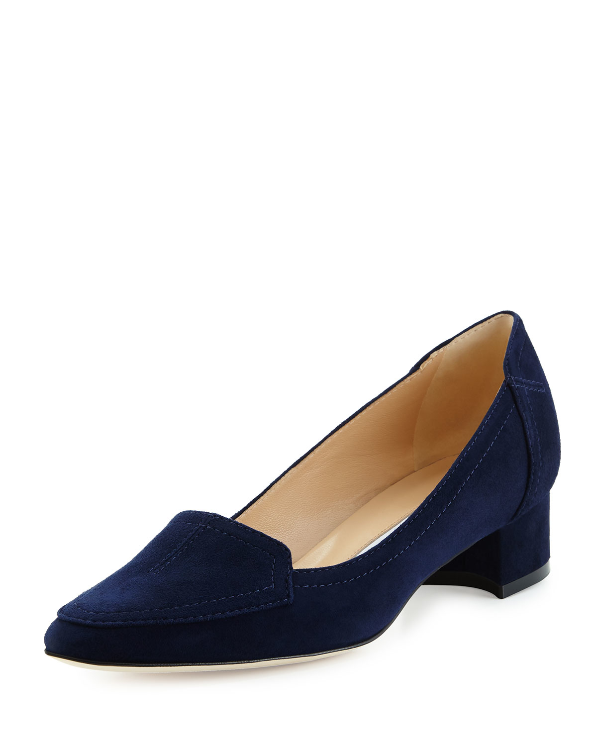 Lyst manolo blahnik carlisa suede loafers in blue for Who is manolo blahnik