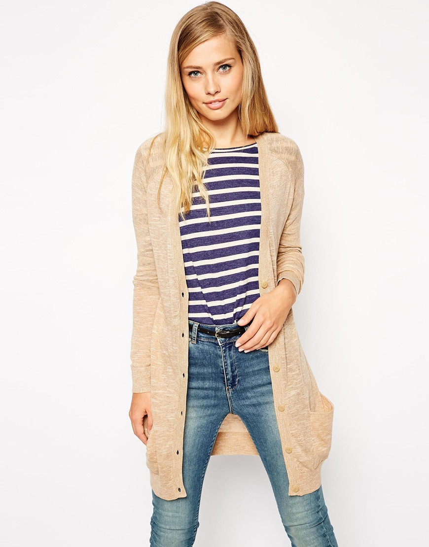 Asos Longline Cardigan In Fine Knit in Natural | Lyst