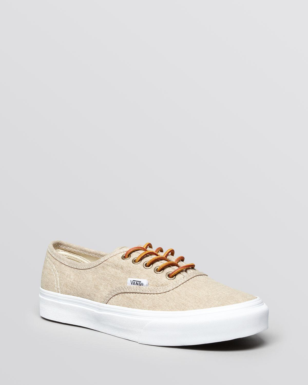 Vans Flat Lace Up Sneakers Authentic Slim In Beige Cream