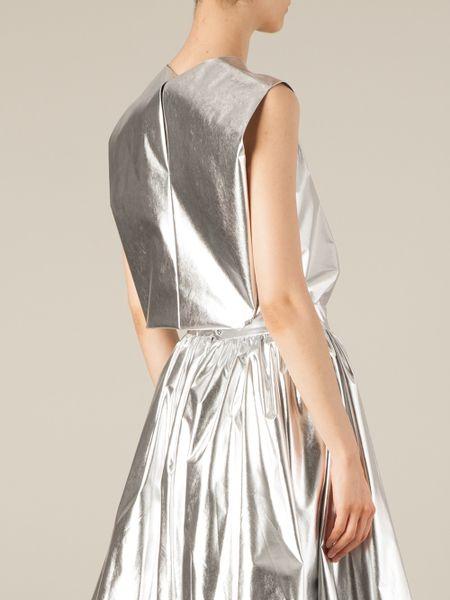 Silver Metallic Top Metallic Top in Silver