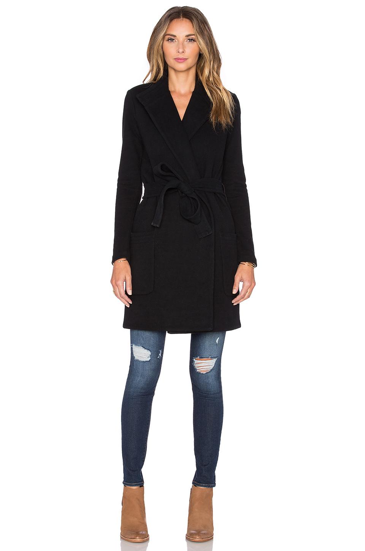 James perse Brushed Fleece Wrap Coat in Black | Lyst