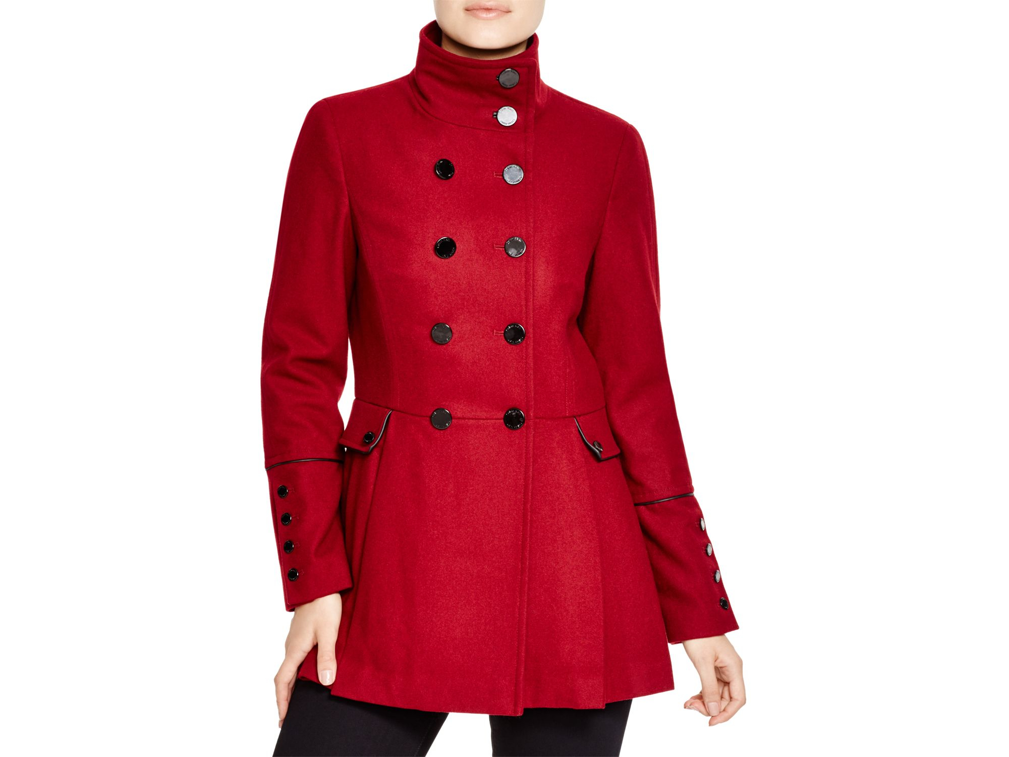 Calvin Klein Military Style Pea Coat In Red Lyst