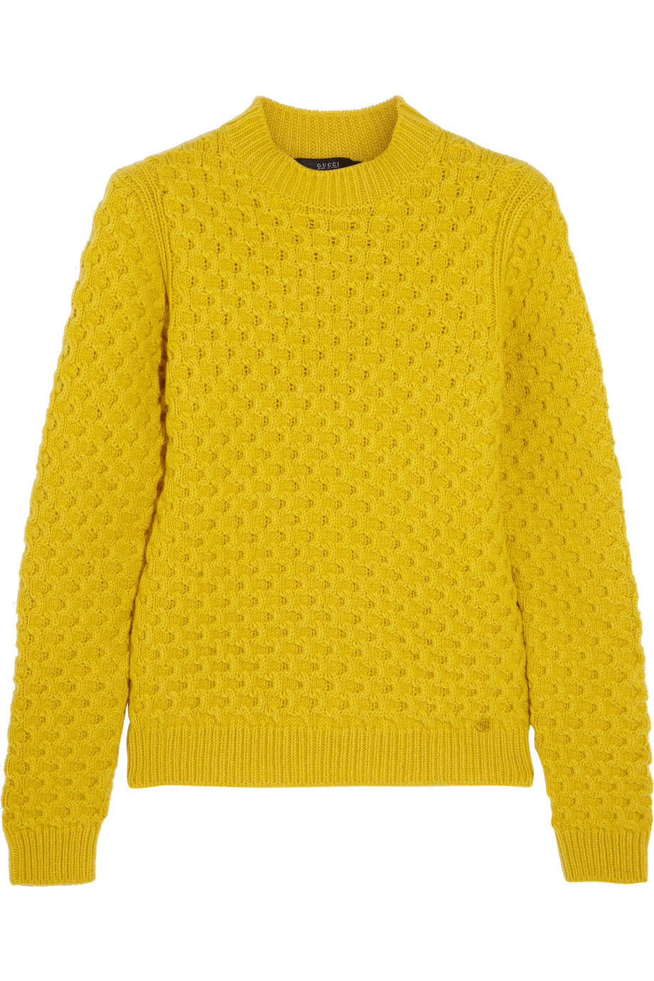 Gucci Waffle-knit Wool Sweater in Yellow | Lyst