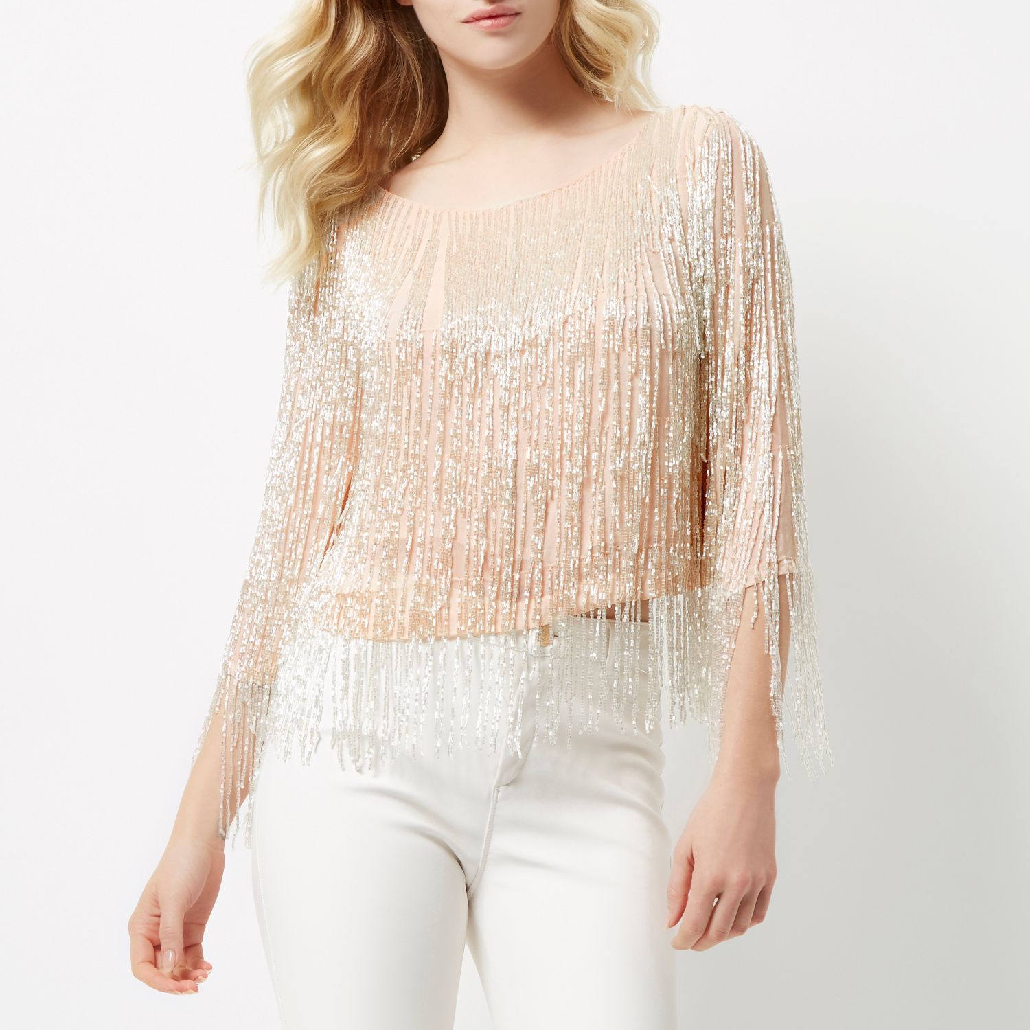 356458ef700aaa River Island Pink Bead Embellished Crop Top in Pink - Lyst