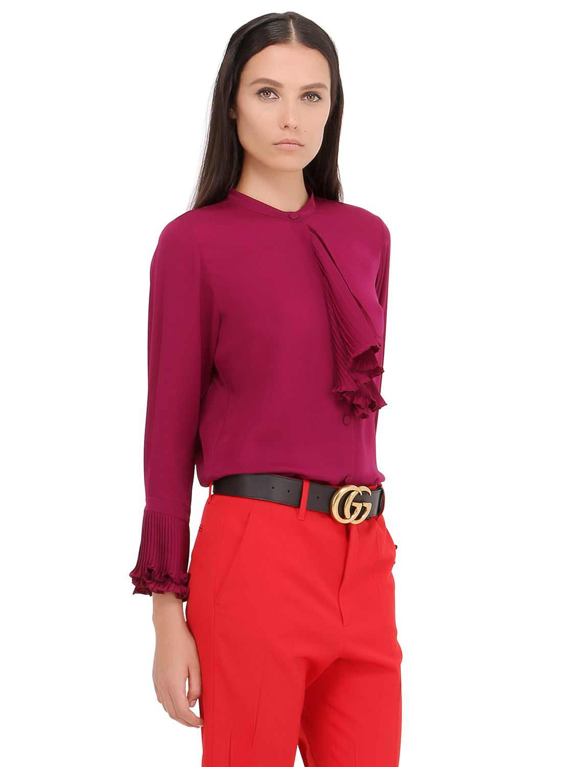 Lyst - Gucci Ruffled Silk Georgette Shirt in Purple Ruffled