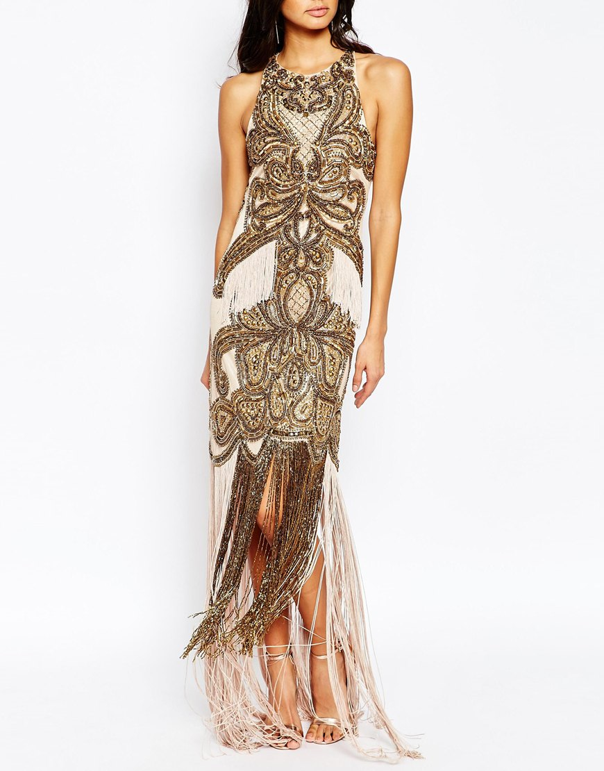 a is born luxe allover embellished maxi dress