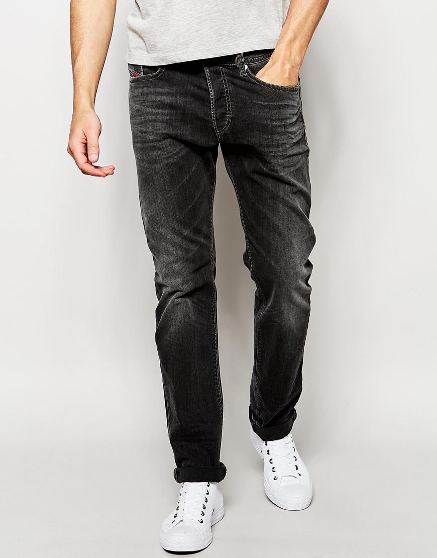 lyst diesel jeans buster 669f regular slim fit stretch washed black in gray for men. Black Bedroom Furniture Sets. Home Design Ideas
