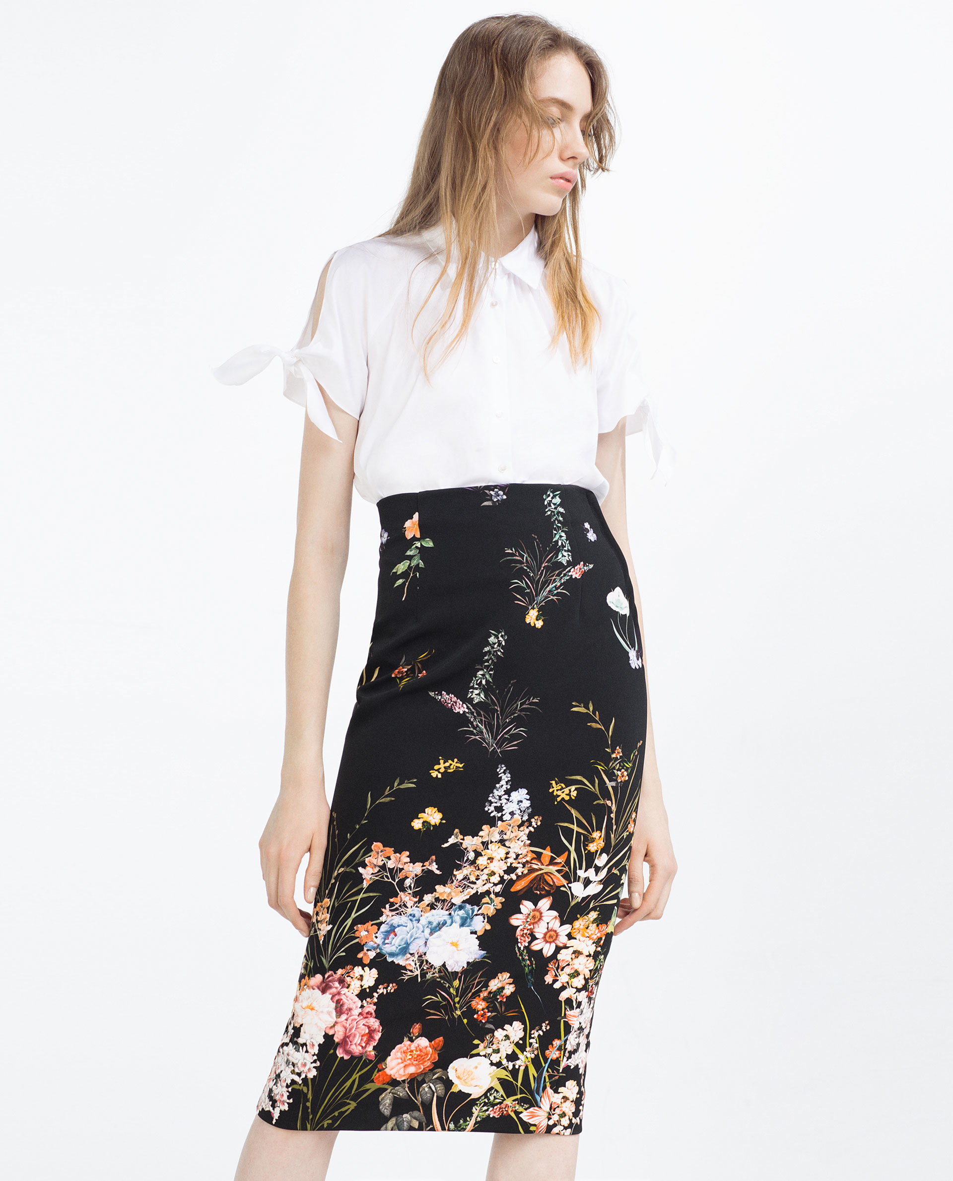 Zara Floral Pencil Skirt in Black | Lyst