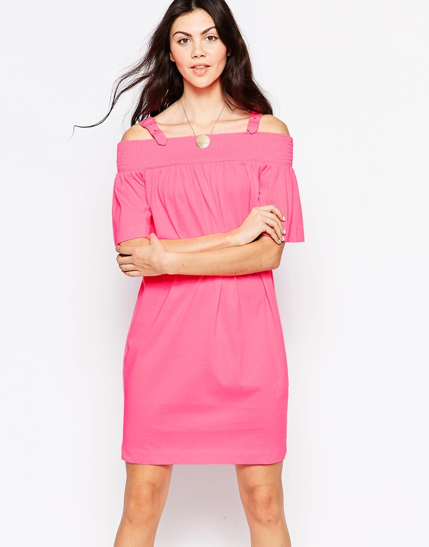 7280f08b4960f Lyst - Love Moschino Off The Shoulder Dress With Buckle Straps in Pink