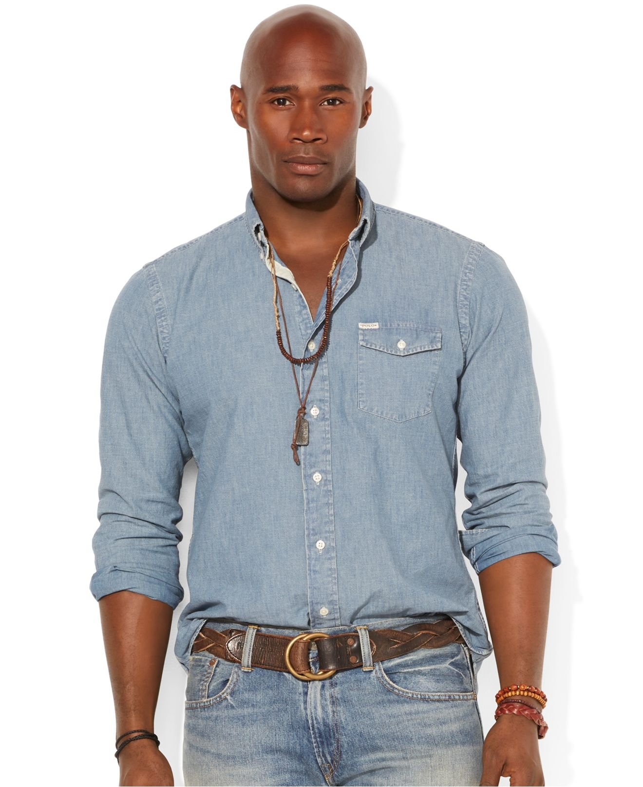 polo ralph lauren big and tall chambray shirt in blue for