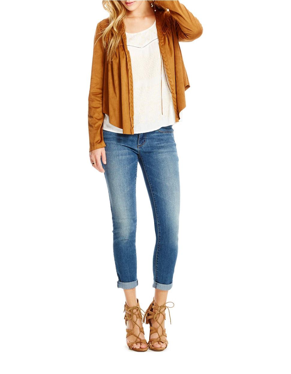 7b3d632da60 Lyst - Jessica Simpson Tulip Sueded Jacket in Yellow