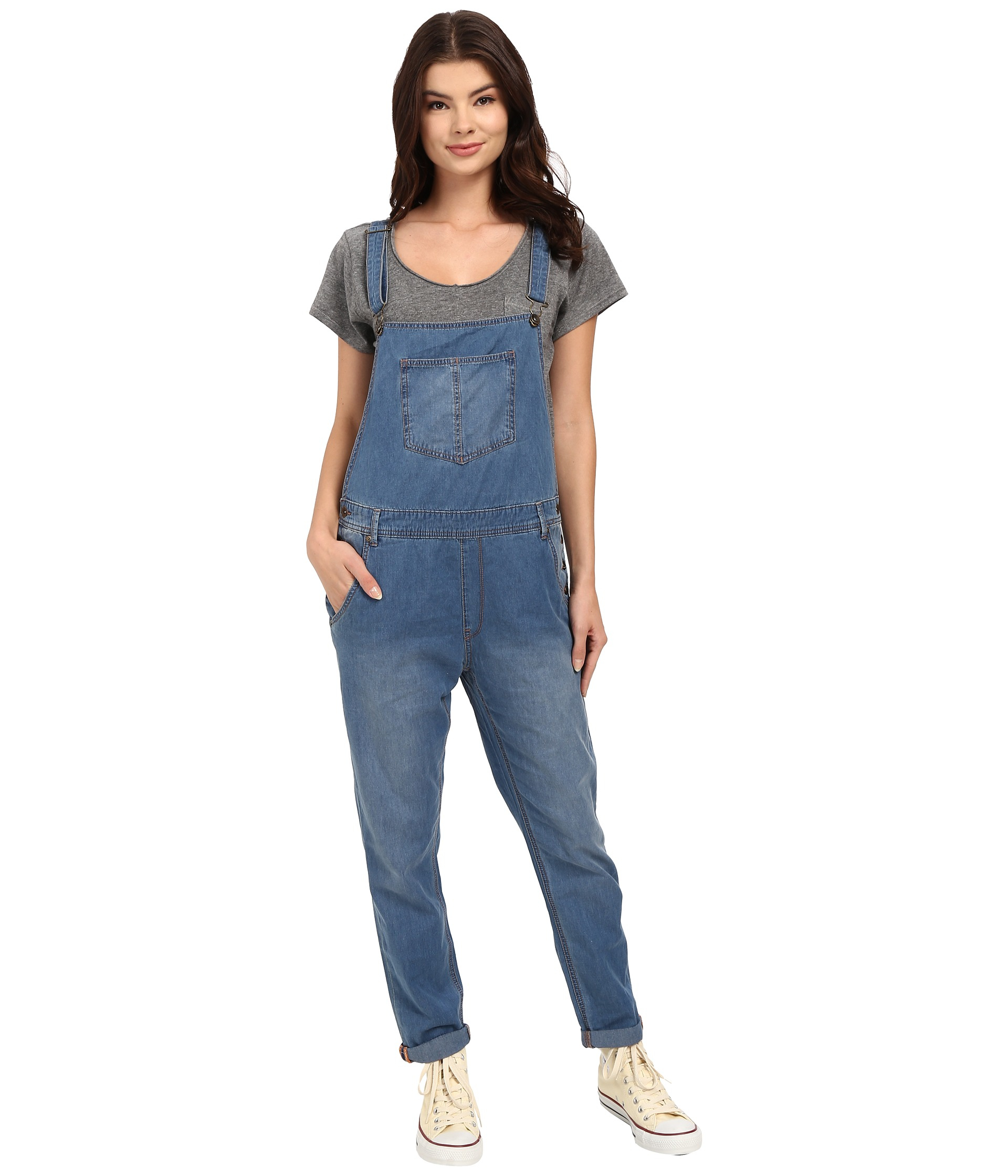 be05b1e36a6 Lyst - Roxy Sea Foam Denim Overalls in Blue