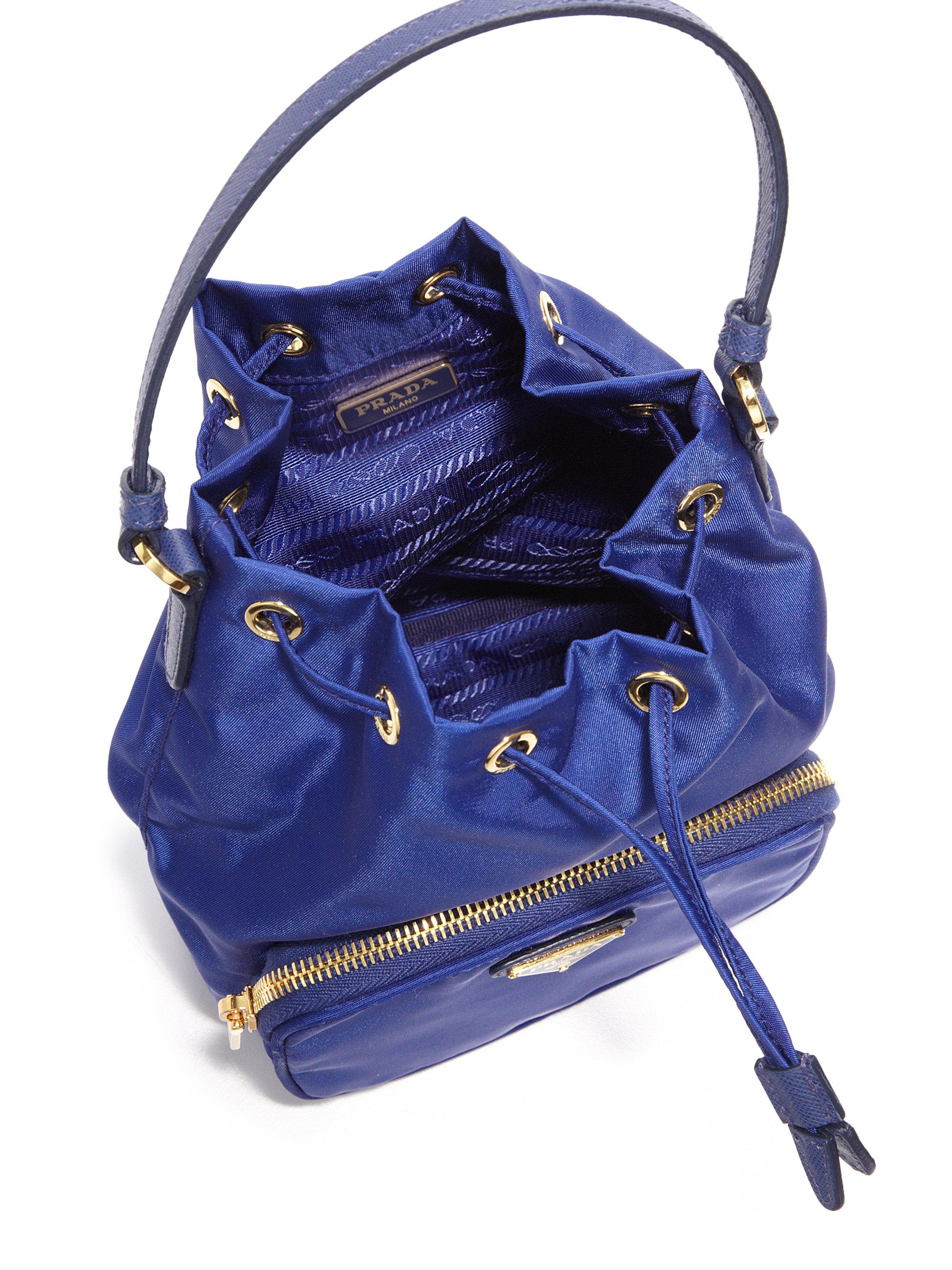 Prada Mini Nylon \u0026amp; Leather Bucket Bag in Black | Lyst