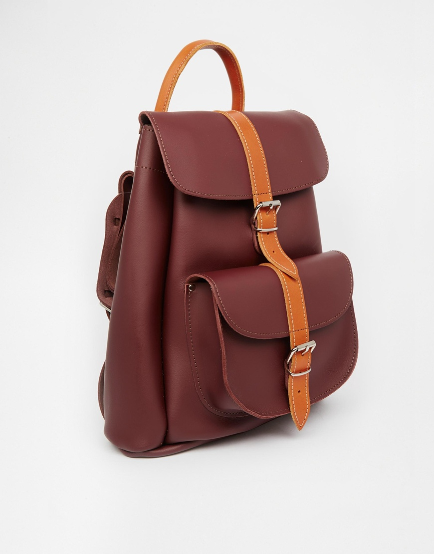 Grafea Leather Backpack In Oxblood With Tan Contrast Stripe in ...