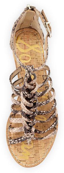 Sam Edelman Dakota Snakeprint Gladiator Sandal In Beige