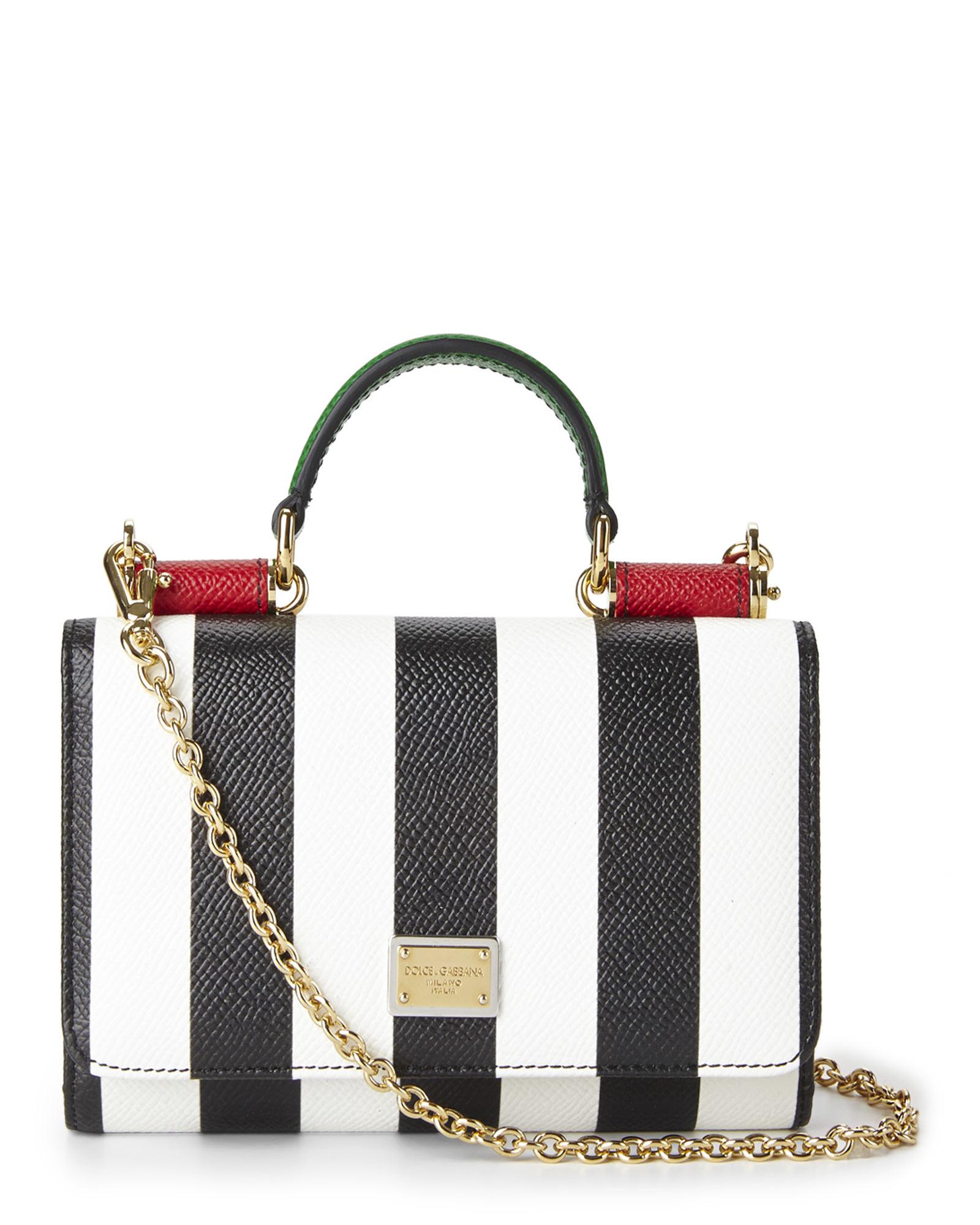 1e5db009863d Lyst - Dolce   Gabbana Black   White Stripe Dauphine Phone Wallet-On ...