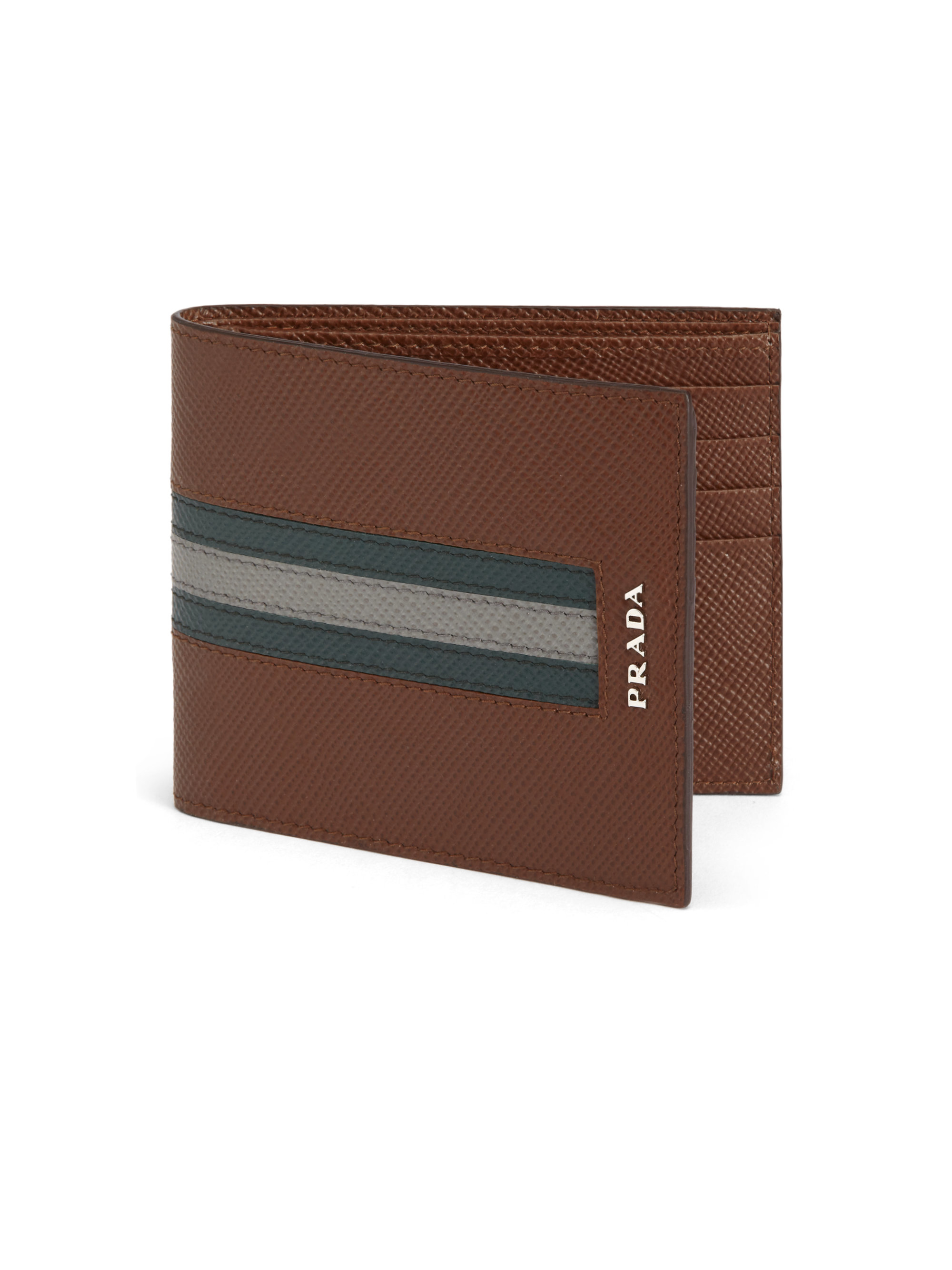 29ecd597dfaf49 ... top quality lyst prada saffiano cuir striped bifold wallet in brown for  men 4934a 70410