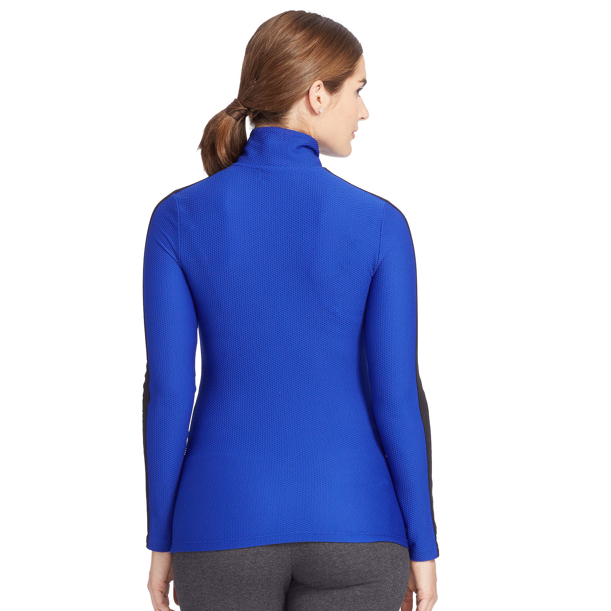 ralph lauren blue honeycomb half zip pullover lyst. Black Bedroom Furniture Sets. Home Design Ideas