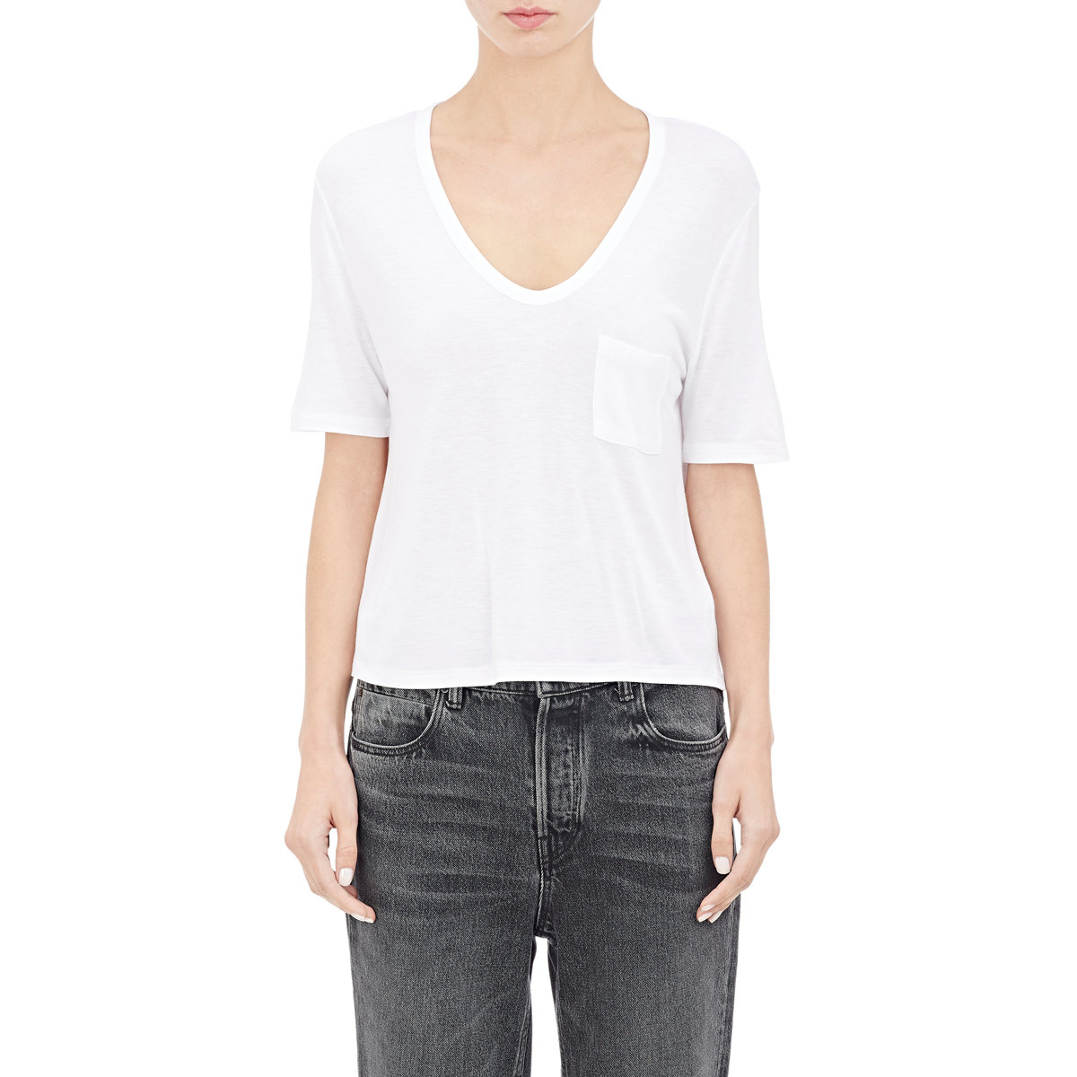 Lyst T By Alexander Wang Crop V Neck T Shirt In White