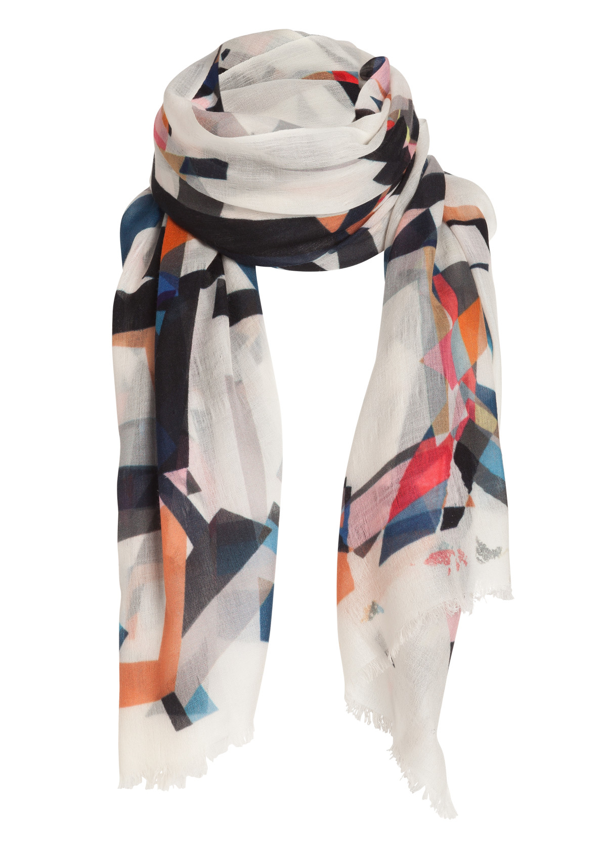 dorothee schumacher graphic movement wool scarf in white
