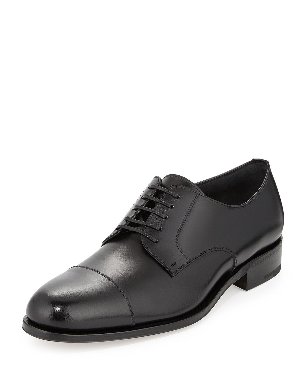 ferragamo rand calfskin lace up shoe in black for lyst