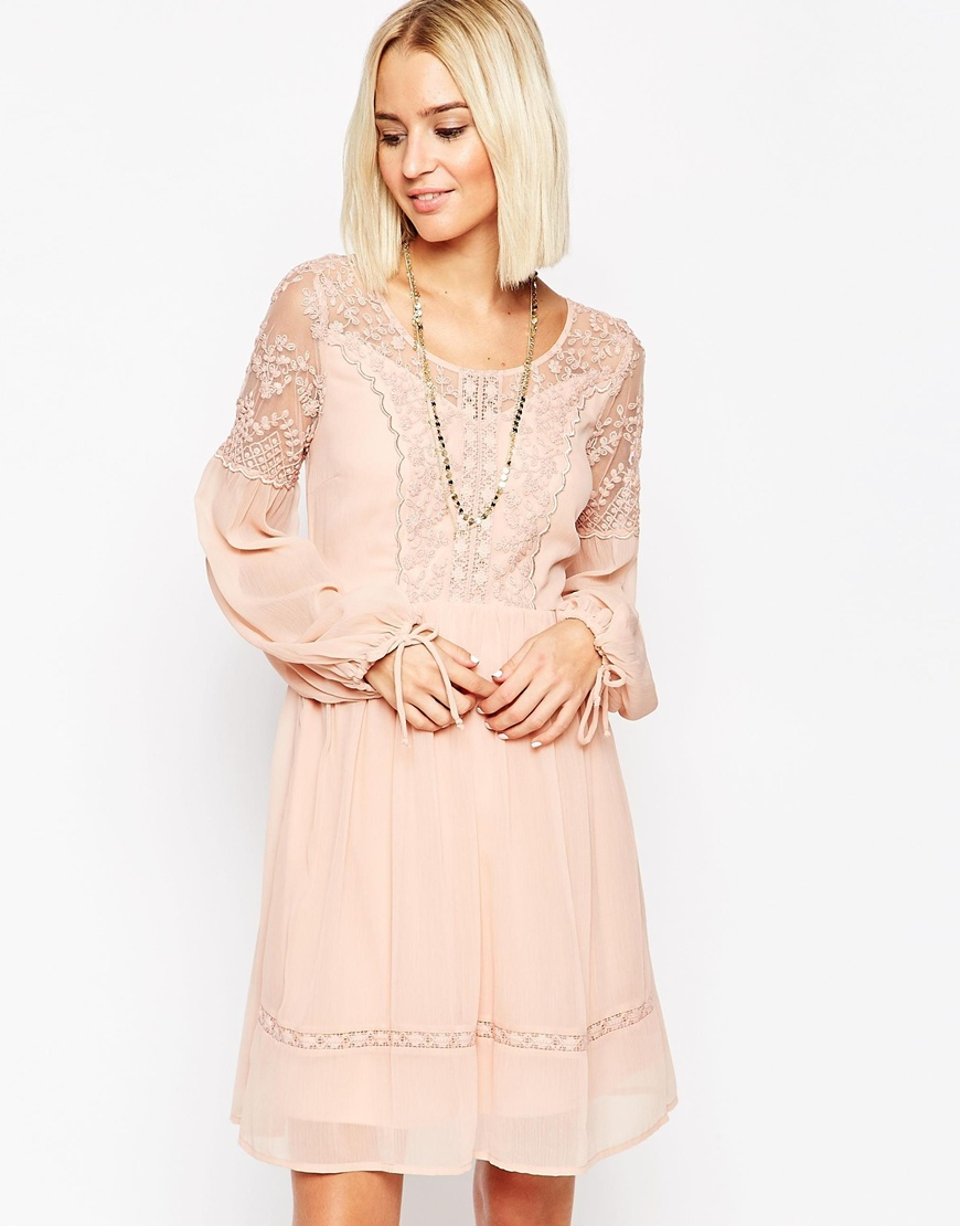 0966847815193 Lyst - Vero Moda Lace And Sheer Dress With Tie Sleeves in Pink