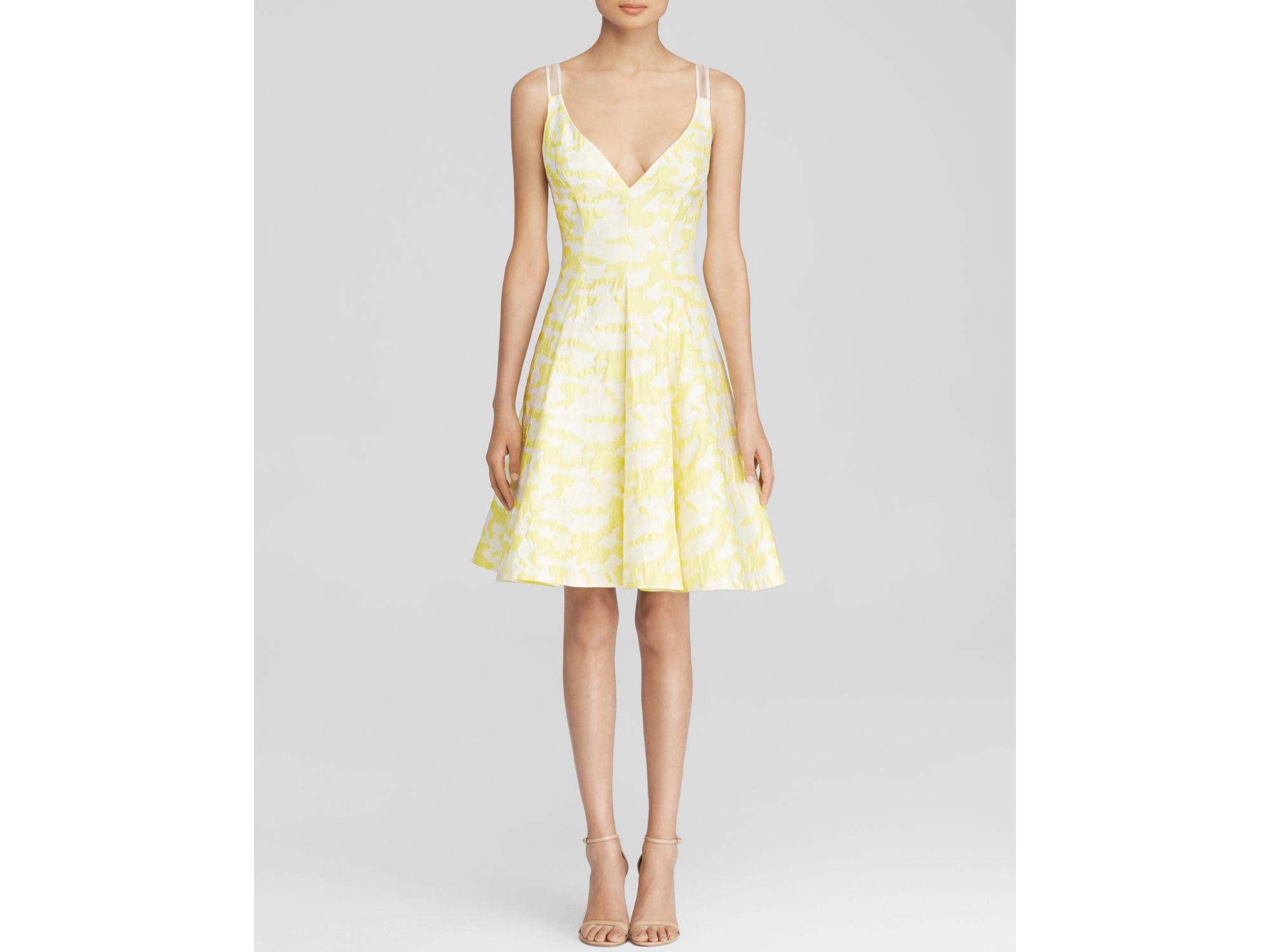 Vera Wang Sleeveless V Neck Jacquard Fit And Flare Dress