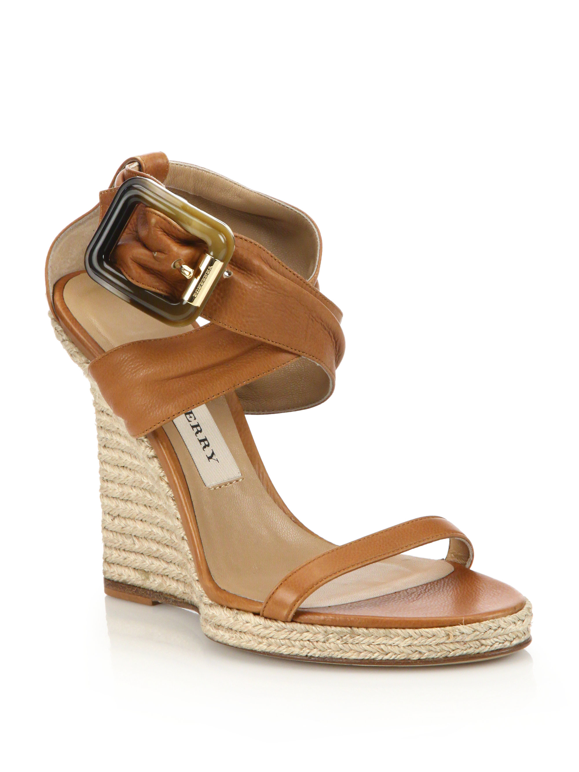 9f23df75cd Burberry Catsbrook Leather Espadrille Wedge Sandals in Brown - Lyst
