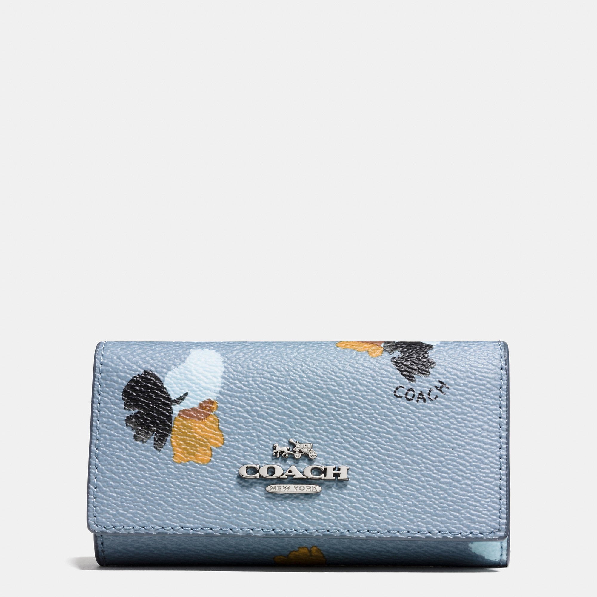 Coach 6 Ring Key Case In Floral Print Coated Canvas in