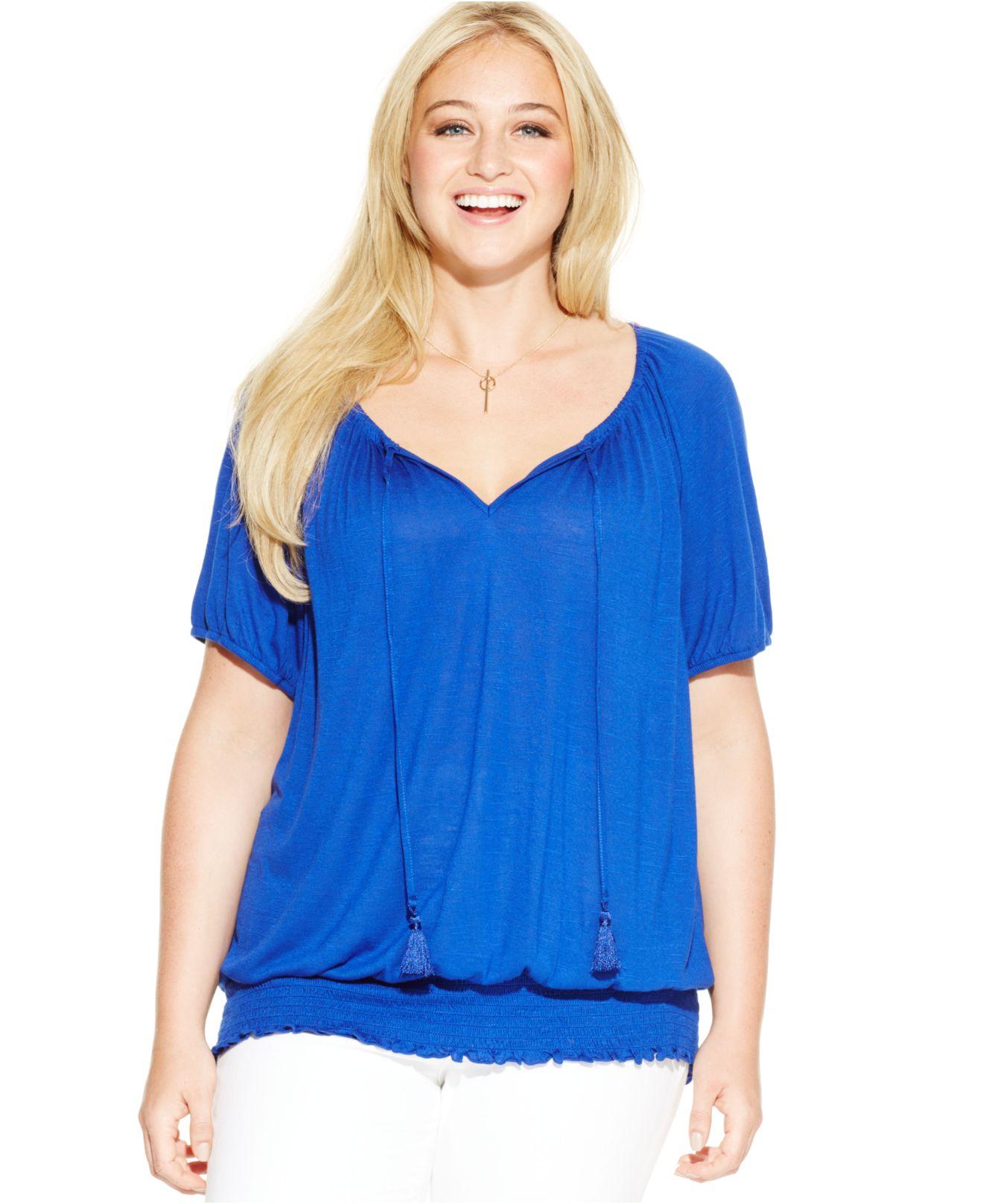 712056e346981 Lyst - INC International Concepts Plus Size Blouson Top in Blue