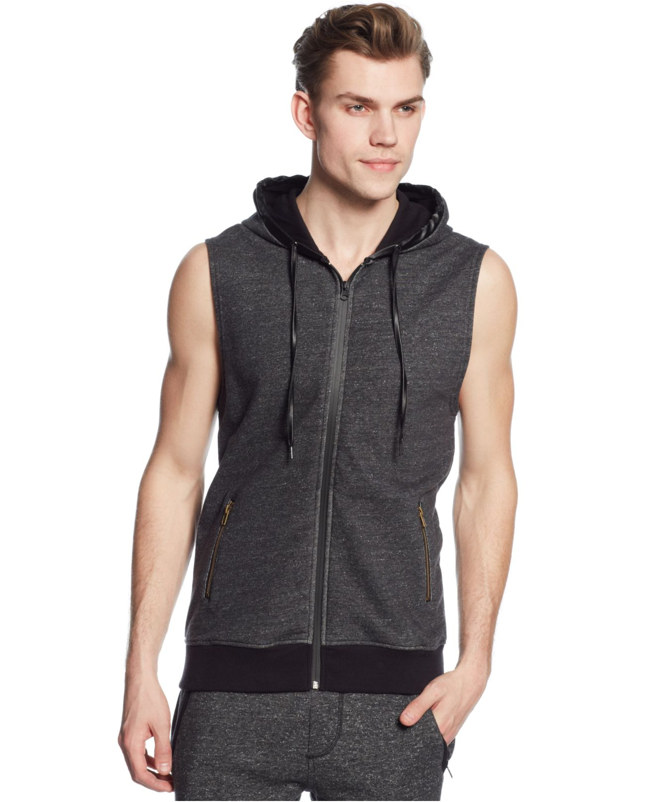 Guess Flecked Sleeveless Hoodie in Black for Men | Lyst