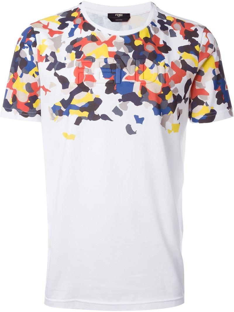 Lyst Fendi Granite Print Logo T Shirt In White For Men