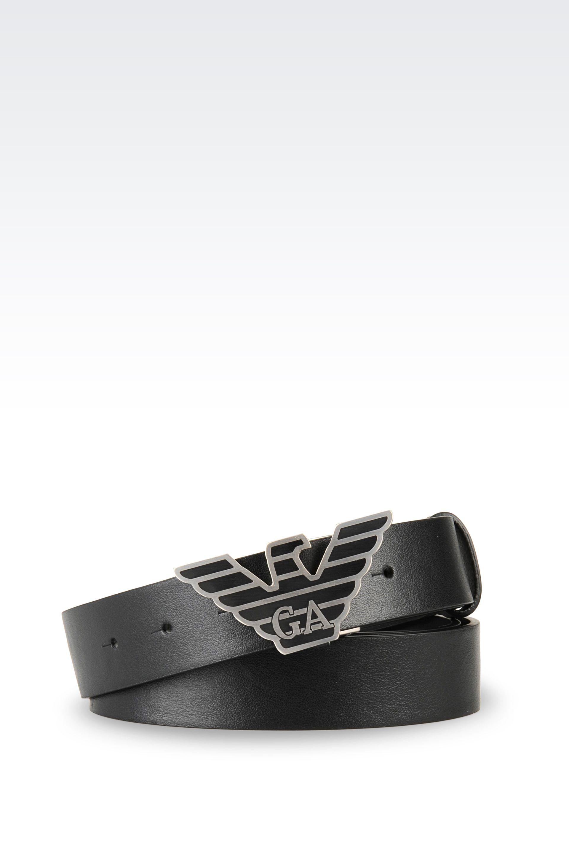 Emporio Armani Calfskin Belt with Logoed Buckle in Black ...