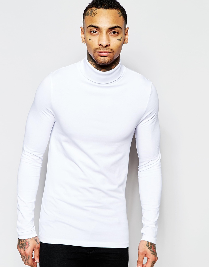 Asos extreme muscle long sleeve t shirt with roll neck in Mens long sleeve white t shirt