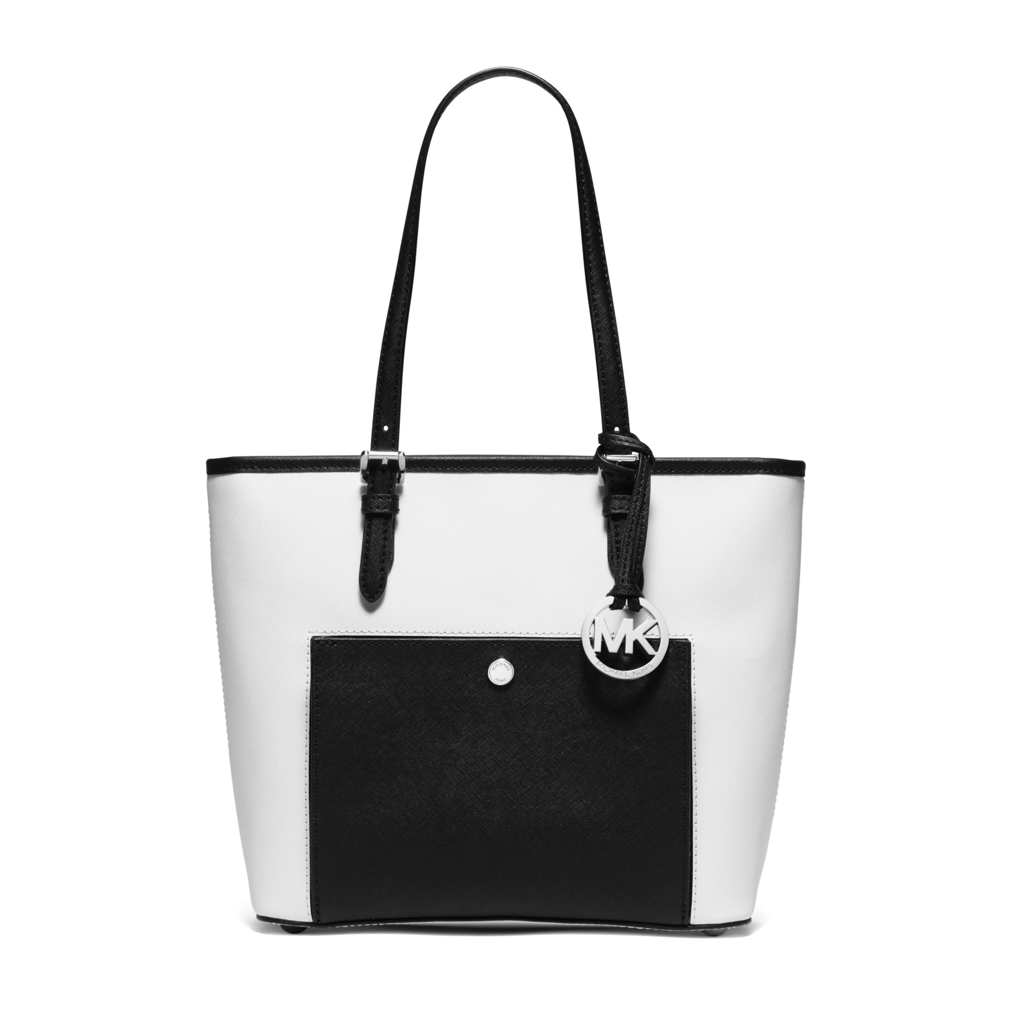 3d537a3f5735 Lyst - Michael Kors Jet Set Travel Medium Saffiano Leather Tote in White
