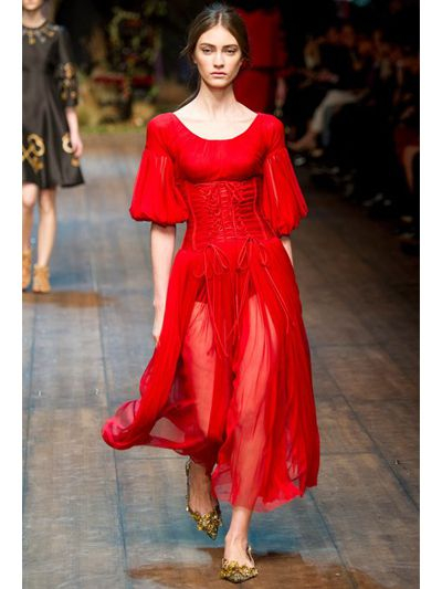 Dolce & gabbana Silk Tulle Bustier Dress in Red | Lyst