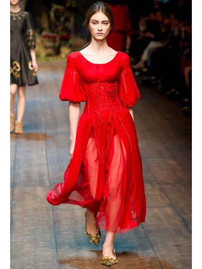 Lyst Dolce Amp Gabbana Silk Tulle Bustier Dress In Red