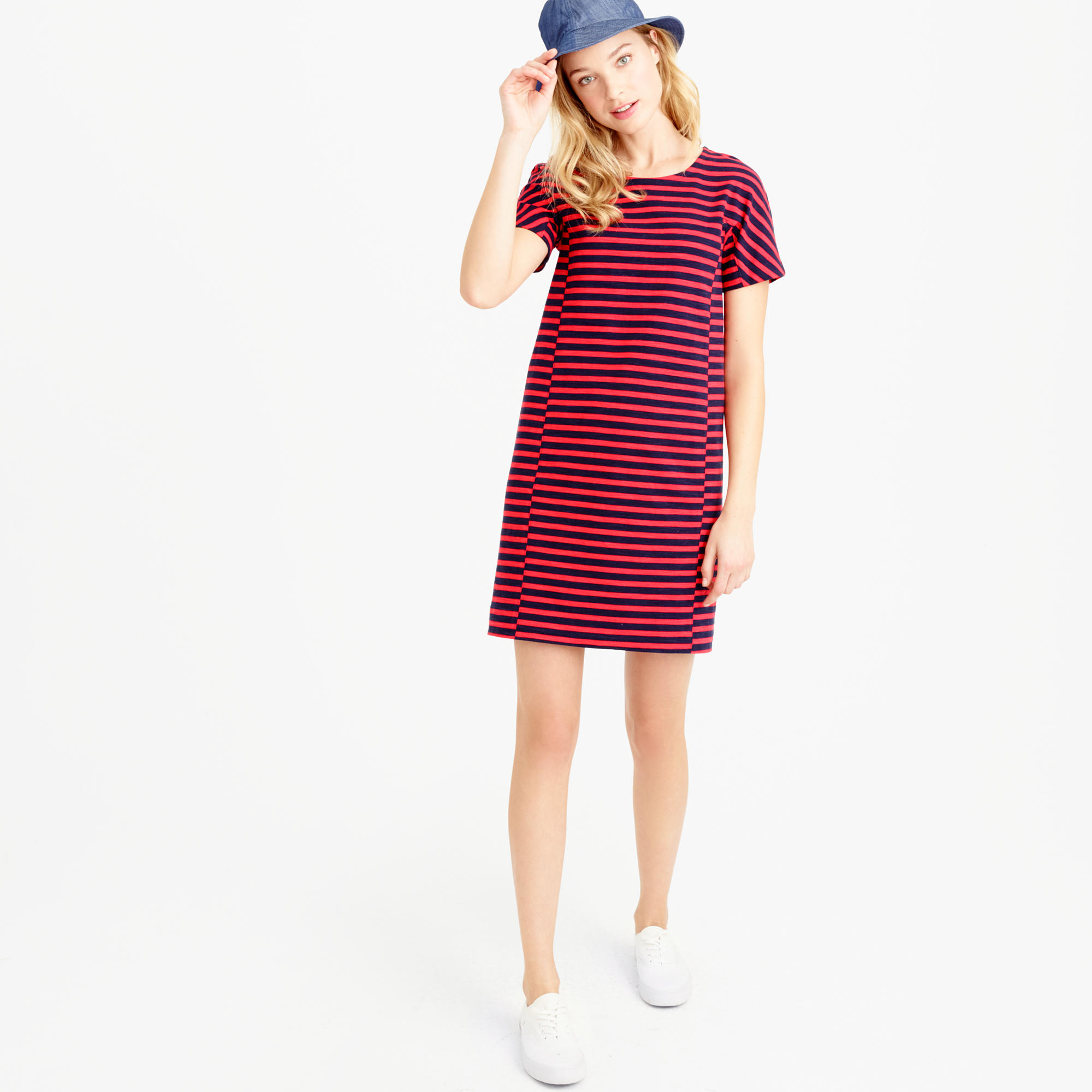 2b1ef65cd8f2 Lyst - J.Crew Striped T-shirt Dress in Blue