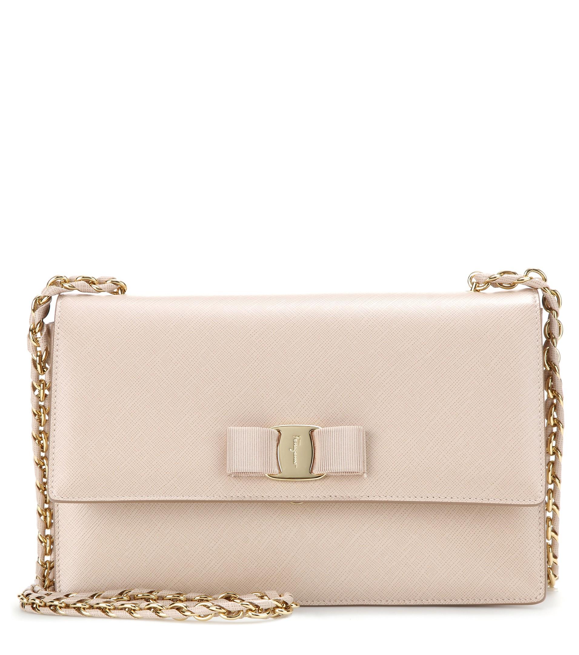 b5f83daa035d Lyst - Ferragamo Ginny Leather Shoulder Bag in Pink