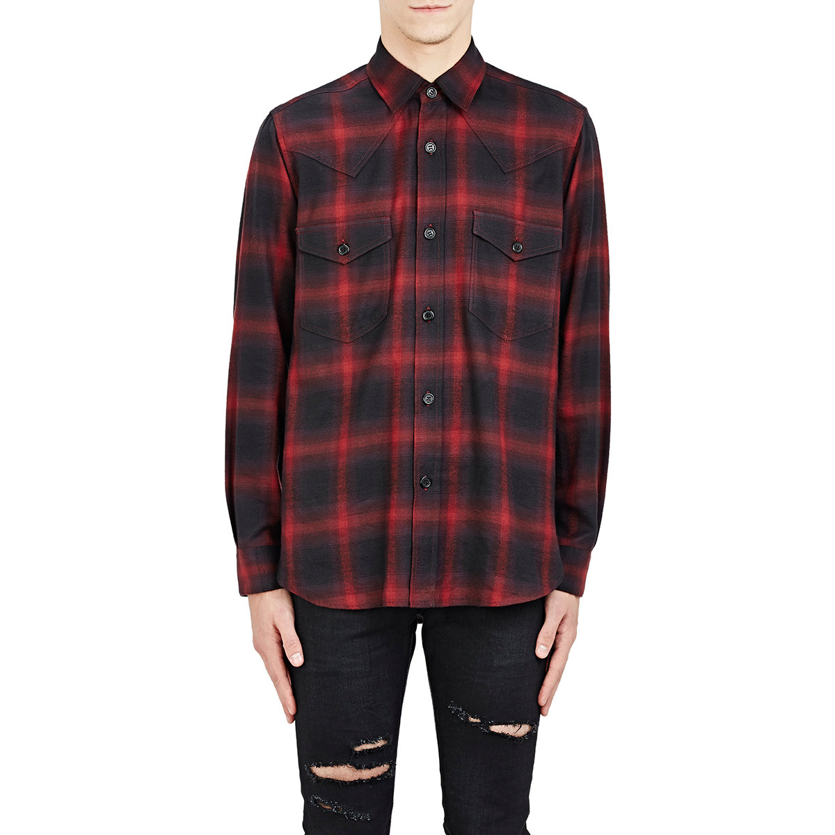 lyst saint laurent men 39 s plaid western shirt in blue for men