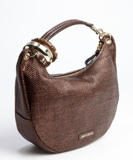 eb5b3b8c838a Jimmy Choo Bronze Woven Leather Solar Bangle Small Hobo in .