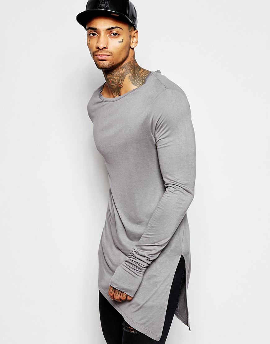ad6579cb0e4a ASOS Bamboo Jersey Super Longline Long Sleeve T-shirt With ...