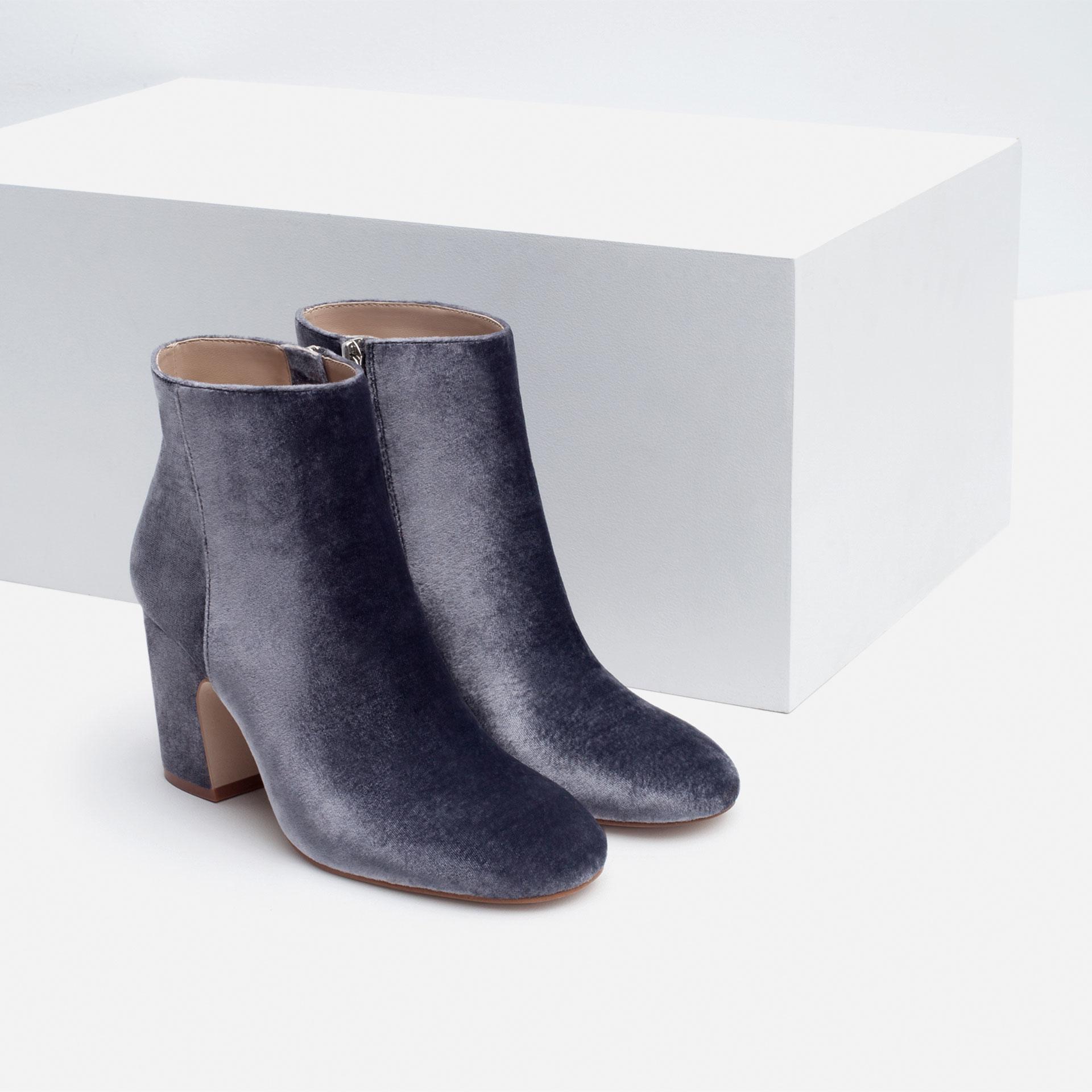 zara high heel velvet ankle boots in blue lyst